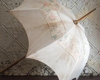 Antique Parasol Umbrella White Cloth