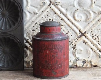 Antique Metropolitan Crystallized Cocoanut Tin Can, Patented 1878, Farmhouse Primitive Antiques