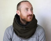 Unisex circle scarf, lined wool scarf, Snock® in extra thick khaki green wool with faux lamb lining