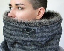 Hooded fur cowl, fur scarf, fur cowl, Snock® in stripey  wool lined with luxury rabbit faux fur