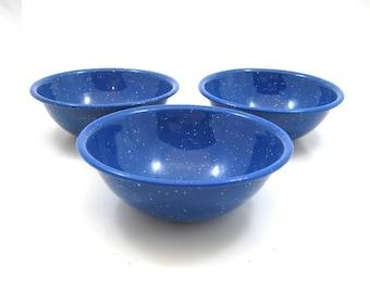 Vintage Watkins Blue Enamelware Bowls - Set of 3 Speckled Graniteware Bowls, Rustic Decor, Wagon Logo