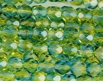 Czech Glass Beads, Montana Blue and Jonquil Firepolished 6mm beads -25