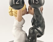 Bride and Groom Weight Lifting Wedding Cake Topper