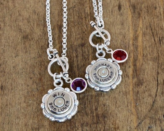 Choice 9mm Bullet Birthstone Necklace-Winchester 9mm Necklace-Hornady 9mm Necklace-RP 9mm Bullet Birthstone Necklace-Speer 9mm Necklace