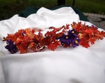 Fall Hair Crown, Autumn Wedding Crown With Orange Leaves & Purple Flowers