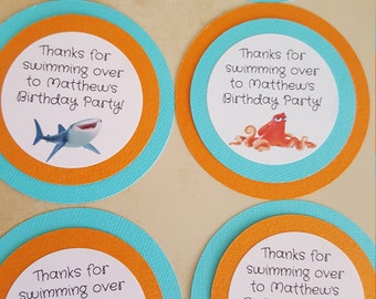 Finding Dory favor tags, Finding Nemo birthday