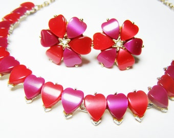 Fuschia Pink and Strawberry Red Thermoset Necklace and Earrings - Vintage Jewelry Set with Pink and Red HEARTS,