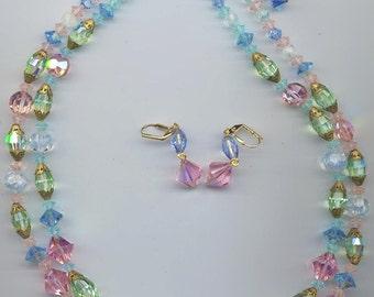 Gorgeous vintage 2-strand necklace with rare vintage Swarovski pastel crystals