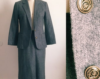 Vintage Wool Suit In Charcoal Gray by Personal Petites • Size 6