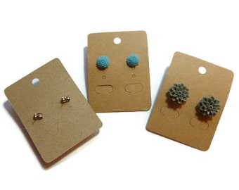 Earring Cards - Kraft Display Card - Retail Hang Tag - 67mm x 50mm - Cardstock - Blank - Eco - Environmentally Friendly - Simple - 25 50 100