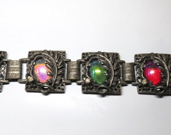 Vintage 50s Colorful Jeweled Cabochon & Leaf Bracelet