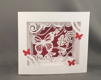 3D Butterfly Blank Pop Up Greeting Card, Birthday Card, Anniversary Card, Thank You Card, Valentine's Day Card, Blank Card, Butterfly Card