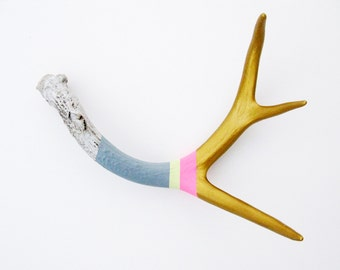 Gold, Pink, Lemonade & Gray Striped Painted Antler - Medium