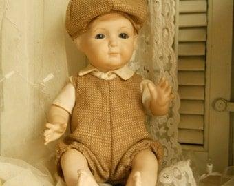 Vintage Porcelain Doll Handmade Signed G 81 Collector's Doll Little Boy Porcelain  Doll Handmade Tweed Clothes And Hat Porcelain Glass Eyes