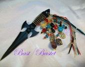 Bast, Bastet  Embellished Athame - Several Blade Styles/Sizes - Egypt, Egyptian - Red Jasper, Agate, Turquoise