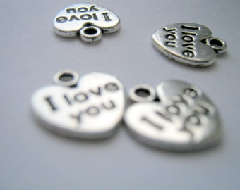 10 I Love You Heart Antique Silver Charms    (1150)