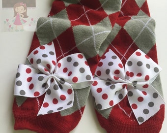 Alabama Leg Warmers -- Crimson Tide Leg Warmers -- bow leg warmers for baby girls -- Roll Tide -- red and gray argyle