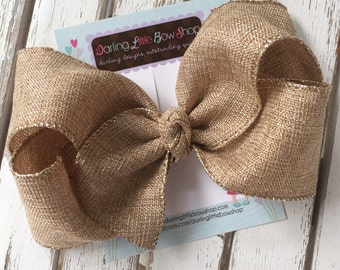 "Burlap Bow -- tan with hints of gold extra large 6-7"" bow -- burlap look perfect for Autumn"