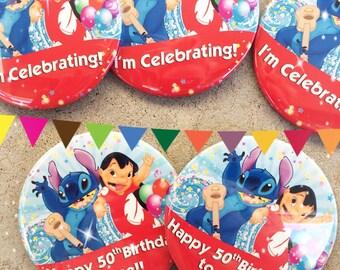 """Disney Lilo + Stitch I'' Celebrating 3"""" Button"""