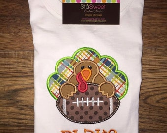 Boys Personalized Applique Fall Football Turkey Long/Short Sleeve onesie or tshirt