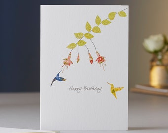 Fuchsia & Two Hummingbirds Birthday