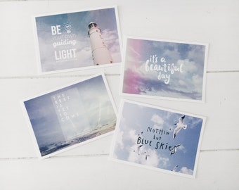 Set of 4 Nautical Typography Postcards A6 - Fine Art Photography, Inspiration, Notecards