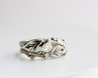 Rainbow Moonstone Twig Rings, Leaf Ring, Silver Branch Ring,Twig Ring, Leaf Engagement Ring, High Grade rainbow moonstone
