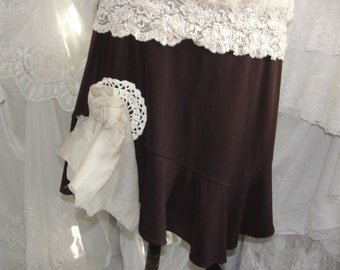Womens skirt in brown with ivory lace and tulle