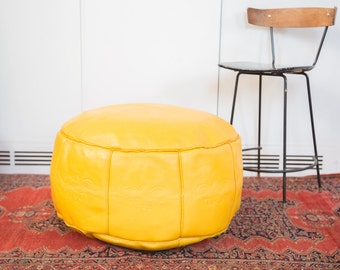 Antique Revival Leather Moroccan Pouf Ottoman - Fly Yellow