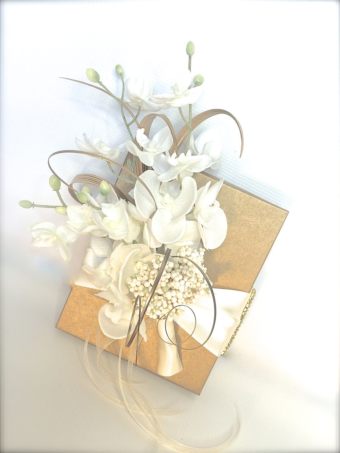 Gold And White Shabby Chic Wedding Gift Box Favors Jewelry