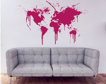 World Map Abstract Wall Decal Ink Splatter