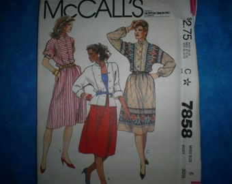 McCalls 7858 Size 6 top,skirt and jacket.