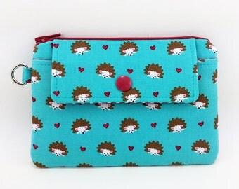 Hedgehog Zipper Wallet, Card Pouch, Coin Purse, Small Zipper Pouch, Notions Pouch, Padded, Gift idea