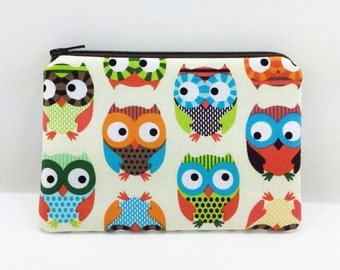 Owls Coin Purse - Small Change Purse - Owl Zipper Pouch - Card Wallet - Gift idea - Notions Pouch - Padded Pouch