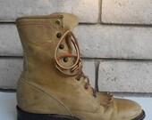 ON SALE Vintage Natural Blonde Justin Roper Lace Up Boots Women's 5.5