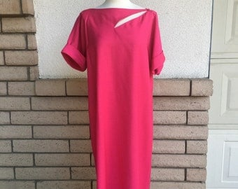 Vintage 70's Mod Hot Pink Sheath Dress R & K Originals Plus Size Dress LIKE New