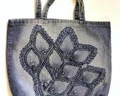Blue denim cotton tote shoulder bag shopper color removal embellished floral diagonal print motif large flower go green
