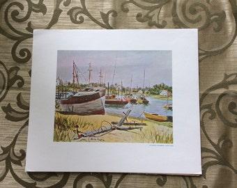 Vintage 1950s Hyannias Harbor Cape Cod litho by Brian Truelove