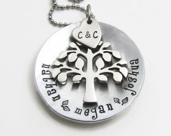 Family Tree Necklace - Personalized Necklace - Hand Stamped Jewelry - Mother's Necklace - Personalized Mom Necklace - Personalized Jewelry