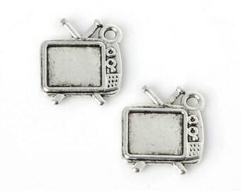 8pcs Retro TV Television Tech Theme Tibetan Silver Charms pendants for jewellery making - 15 x 13mm