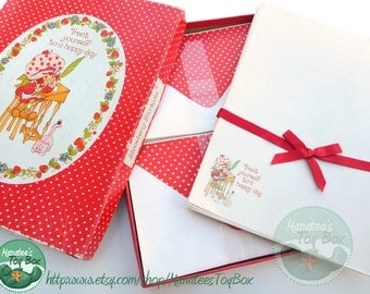 Vintage Strawberry Shortcake Stationery 1980s Treat Yourself to a Happy Day with Custard Cat