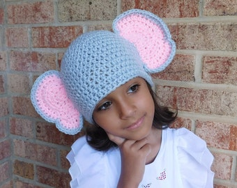 Elephant Grey Crochet Hat Baby Girl or Baby Boy Photography Prop Costume All Sizes  from Preemie to Adult
