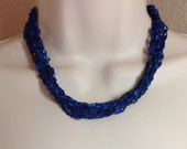 """Royal Blue and Black Crochet Ribbon Necklace Adjustable from 17.5"""" to 30"""" Long Previously Eighteen Dollars CLOSEOUT SALE"""