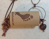 Antique Copper Wine Cork Charm Necklace on 30.5 Inch Long Antique Copper Chain, One of a Kind Previously 25 Dollars ON SALE