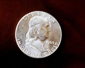 Americana vintage 1963 Franklin silver half dollar coin.