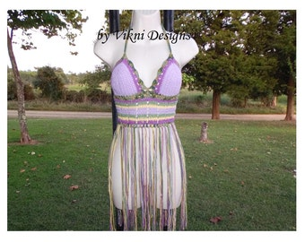 Festival Fringe Top, Gypsy Long Fringe Lavender Crochet Halter Top by Vikni Designs