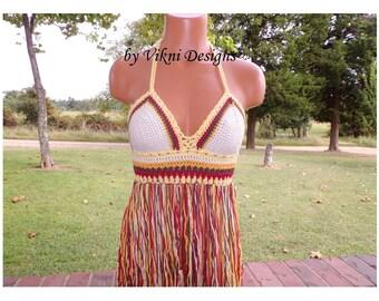 Vikni Crochet Autumn Fringe Halter Top, Festival Fringe Crochet Top