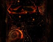 Fantasy Art Print -Moon Print - Giclée Wall Art Print SURREAL - Crescent Moon Fantasy Art- Crescent Moon Original Art by Ghostales Annabelle