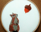 Squirrel and Acorn embroidery