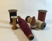 New England Factory Antique thread Spools and Spindles -